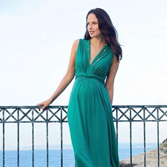 Seraphine Dresses Emerald Knot Front Maternity Maxi Dress Poshmark